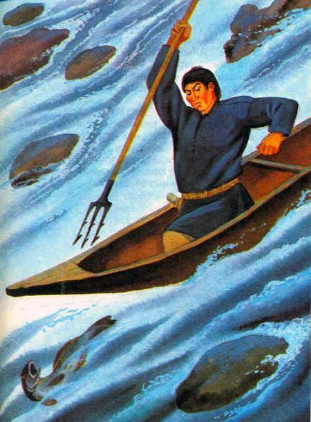 на лодке ловит рыбу гарпуном