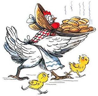 Курица печет пирожки цыплята