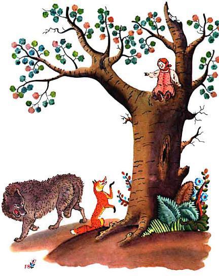 девочка Снегурочка на дереве волк и лиса