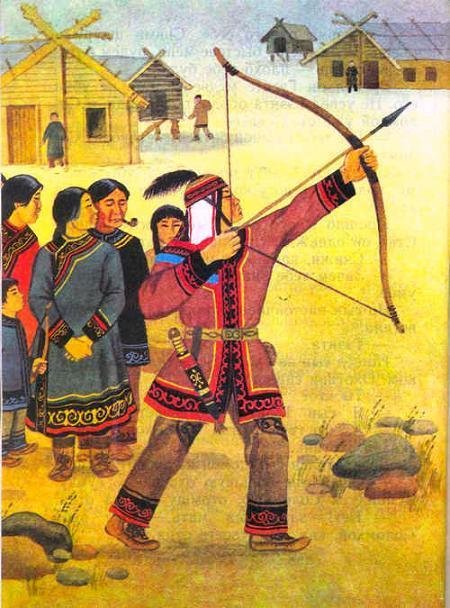 охотник стреляет из лука