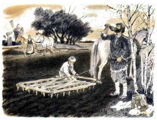крестьяне на пашне за работой