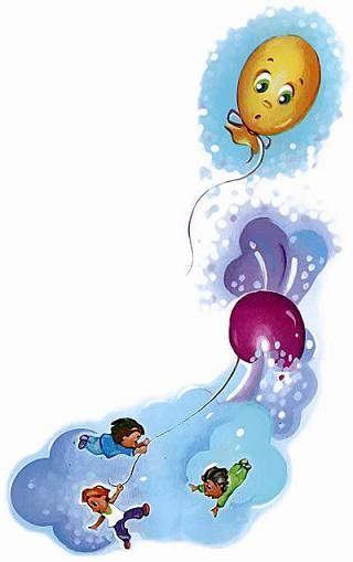 воздушные шарики оборвались и улетели в небо