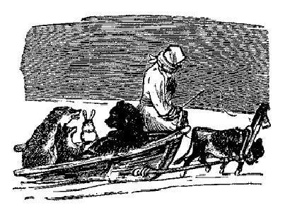 старуха в санях и животные