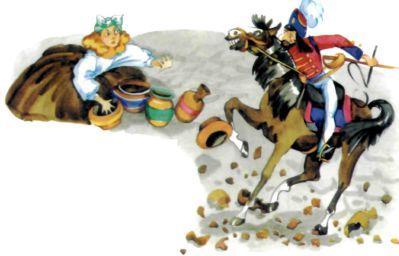 гусар на лошади разбил горшки в черепки