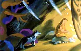 женщина у костра в пещере и волк
