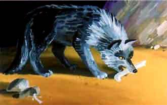 волк грызет кость