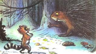 енот и дикобраз в лесу