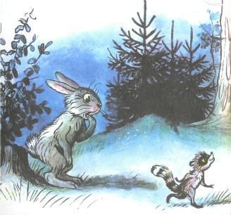 заяц и енот в лесу