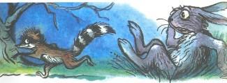 енот убегает заяц испуг