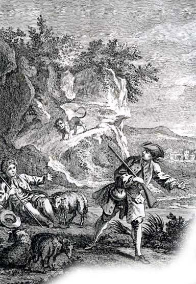 Лев и охотник