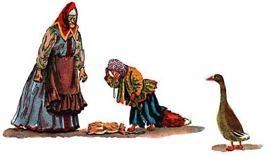 Лиса лапотница и старуха
