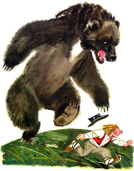 бурый медведь гонится за Локотком