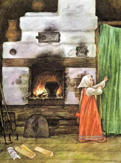 Маша у печки печет пироги