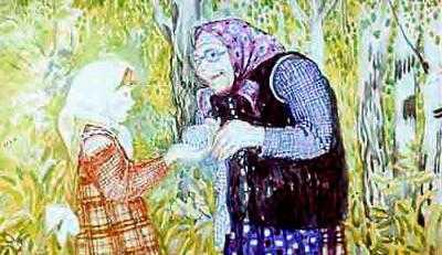 Маша приносит клубок бабушке незнакомой
