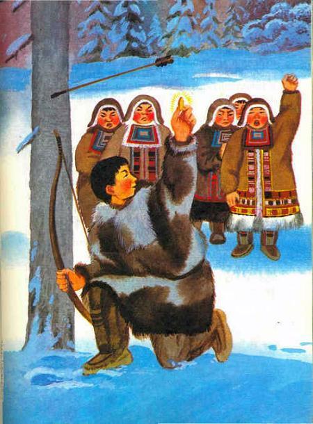 охотник с луком снег