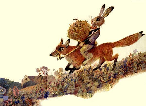 Прикольные картинки с лисой и зайцем, анимация весенние