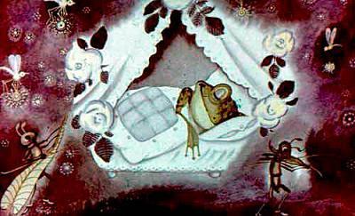 лягушка спит в кроватке