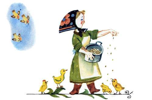хозяйка кормит цыплят