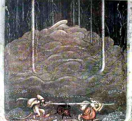 Когда наступил вечер, старуха троллиха и ее сынок выбрались из горы. Котел они несли между собой, на шесте
