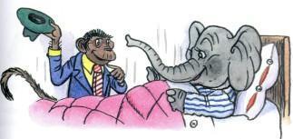 слон в постели и обезьяна