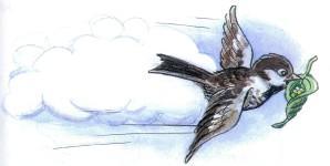 воробей птица в воздухе летит с листком