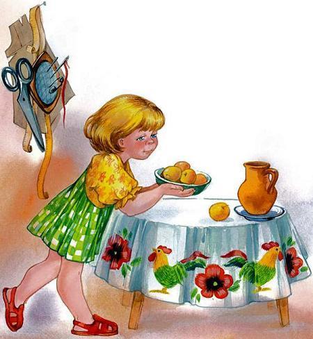 девочка с тарелкой яблок