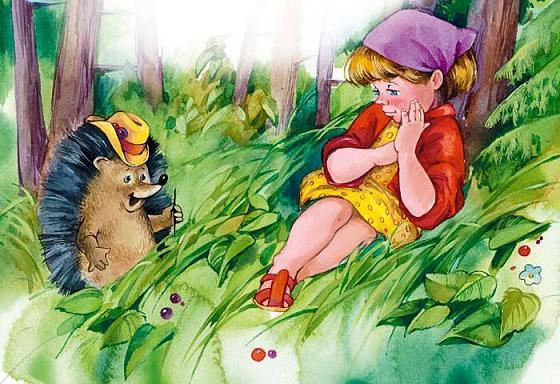 девочка встретила ёжика в лесу