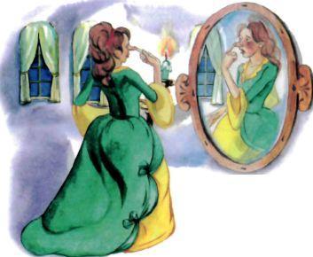 принцесса с длинным носом у зеркала