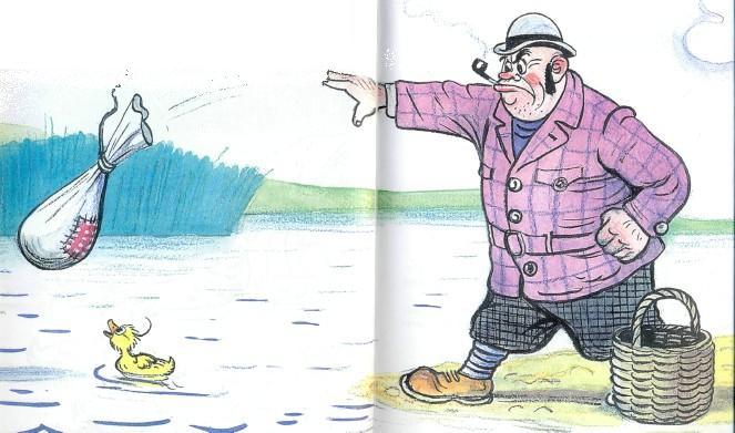 человек кидает мешок в воду утенок на озере в озеро