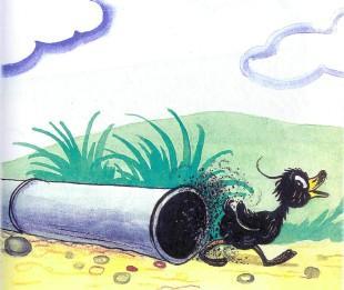утенок пролез через трубу запачкался черный в саже