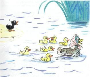 утята и утка плавают в озере