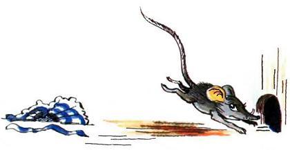 Мышка мауси убегает в норку