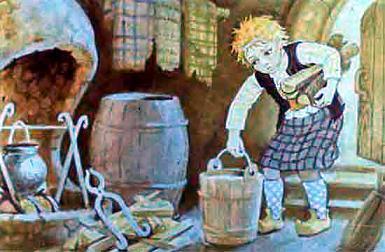 Ассипатл носит дрова и торф в ведре