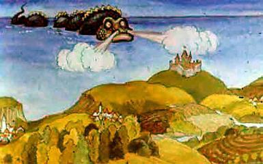 Морской Змей подплывает к замку