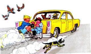 мы с Мишкой на бампере Автомобиля
