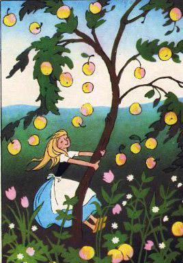 девочка трясет яблоню яблоки падают на землю