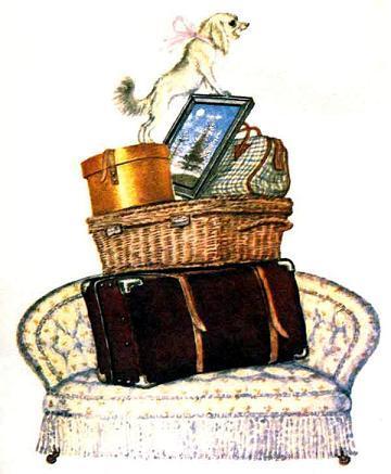 Дама сдавала в багаж Диван, Чемодан, Саквояж, Картину, Корзину, Картонку И маленькую собачонку.