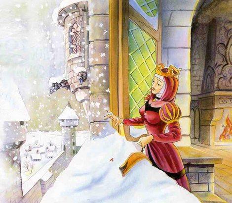 королева уколола иголкой палец и капелька крови упала на снег