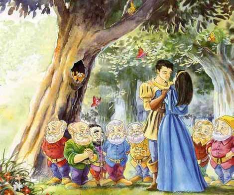 Принц Белоснежка и семь гномов в лесу