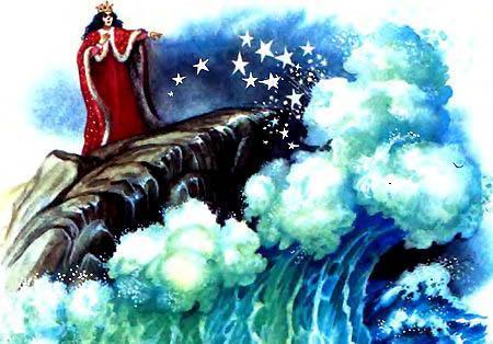 королева подошла к морю и поднялась на крутую обледенелую скалу