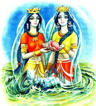 из моря поднялись две прекрасные царевны