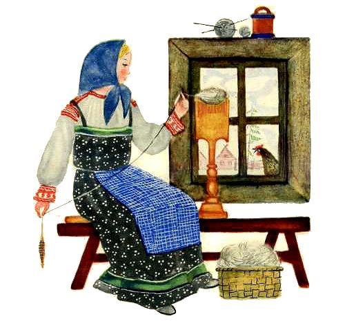 курочка и женщина прядет