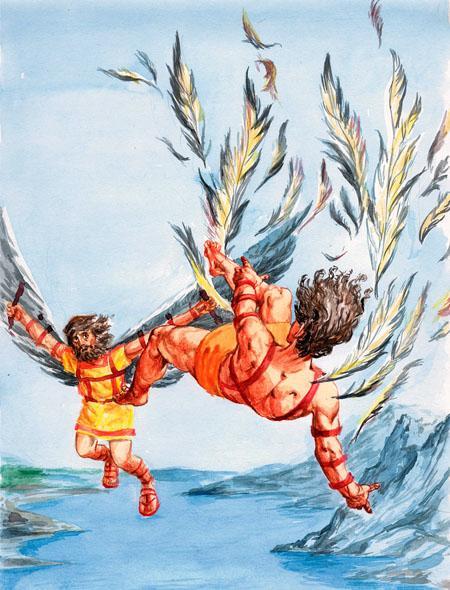 Икар взлетел к солнцу падает в море
