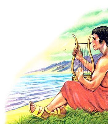 Орфей играет на арфе