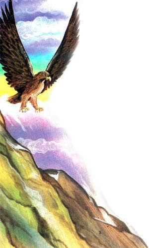 орел летит к прометею