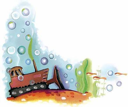 бульдозер под водой