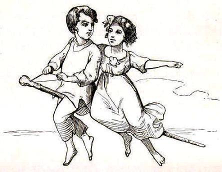 мальчик и девочка летят на трости