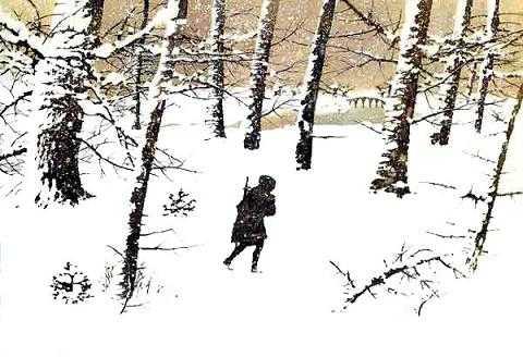 Чайлд-Роланд юноша идет по заснеженному лесу