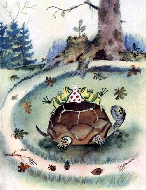 лягушки лежат на Черепахе