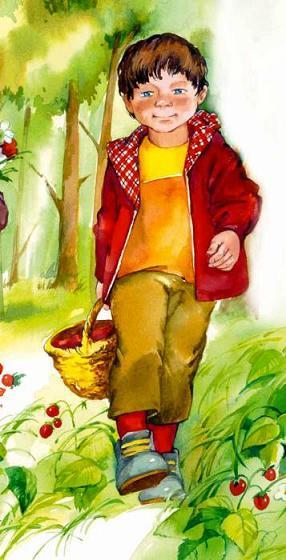 мальчик с корзинкой идет по лесу